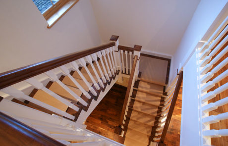 concrete clad wooden stairs