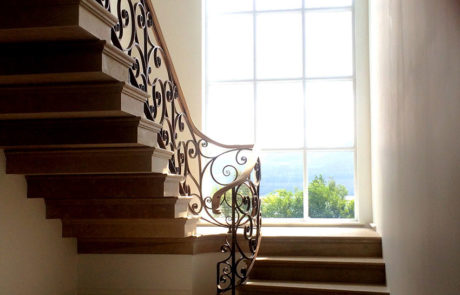 steel and metal wooden stairs