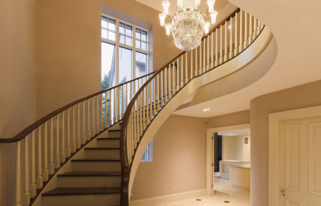 bespoke curved wooden stairs
