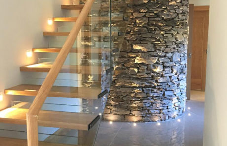 glass balustrade wooden stairs