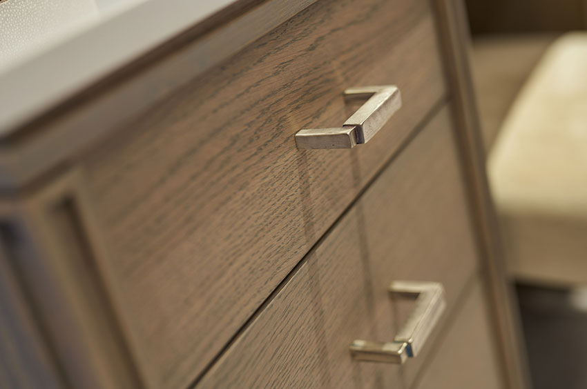 close up detail of dressing table draws and handle