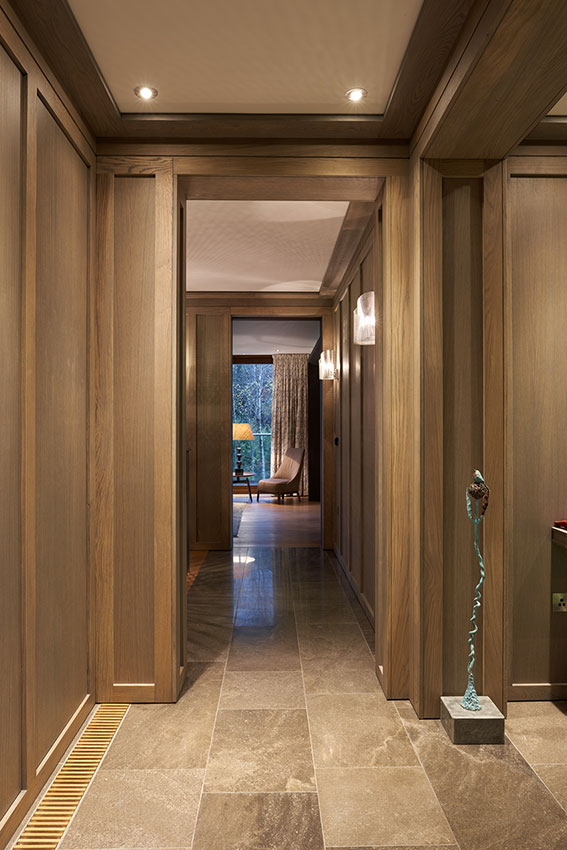 entrance lobby with floor to ceiling wooden panelling