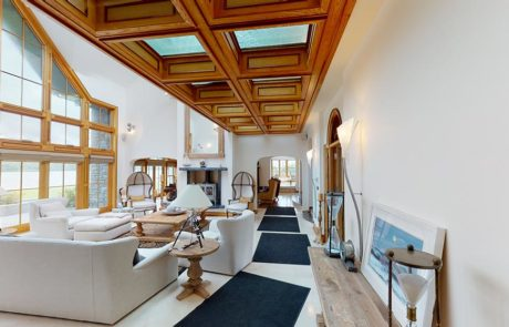 wooden and glass ceiling in living room