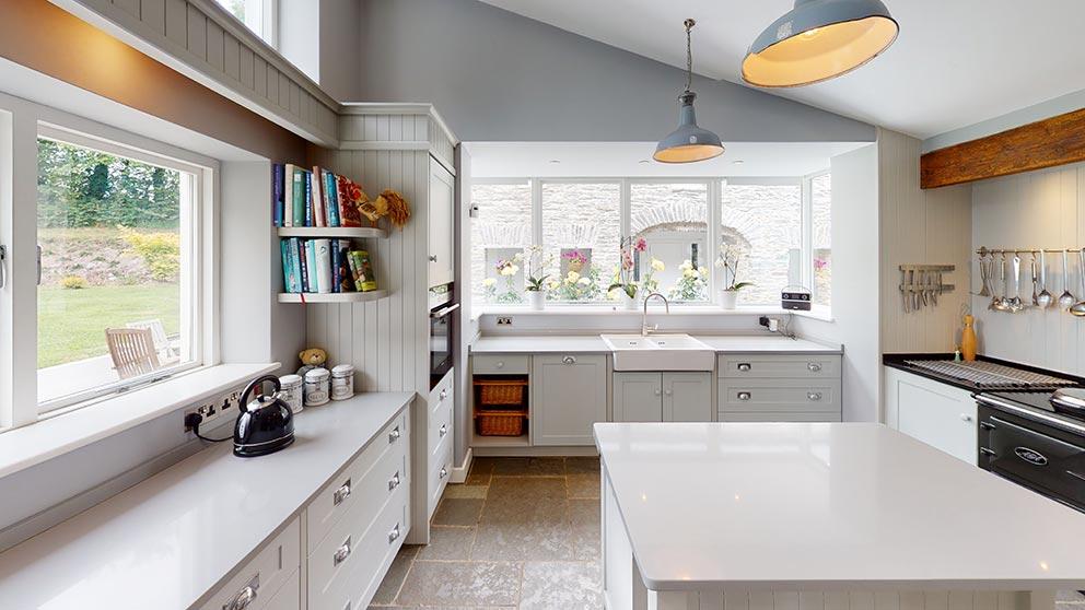 grey wooden shaker kitchen